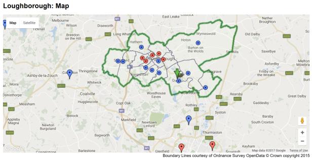 loughborough map